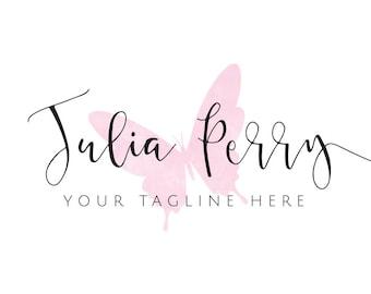 Logo, Logo rose, Script Logo, Logo féminin, photographie Logo, création de Logo, Logo personnalisé, Blog Logo, Logo manuscrite de papillon