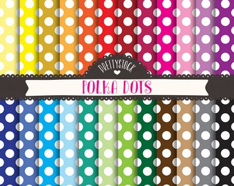 Polka Dots Digital Papers, Polka Dots Digital Papers, Polka Dots Scrapbooking Digital Papers - Instant Download // PS93