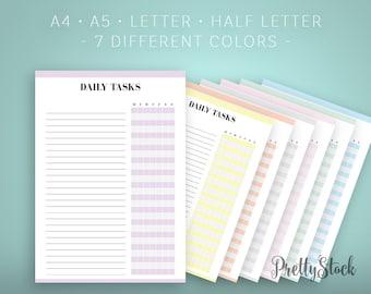 Daily Tasks Printable, Daily Tasks Printable Planner Inserts, Weekly Tasks Printable, A4, A5, Letter, Half letter, Binder Printable