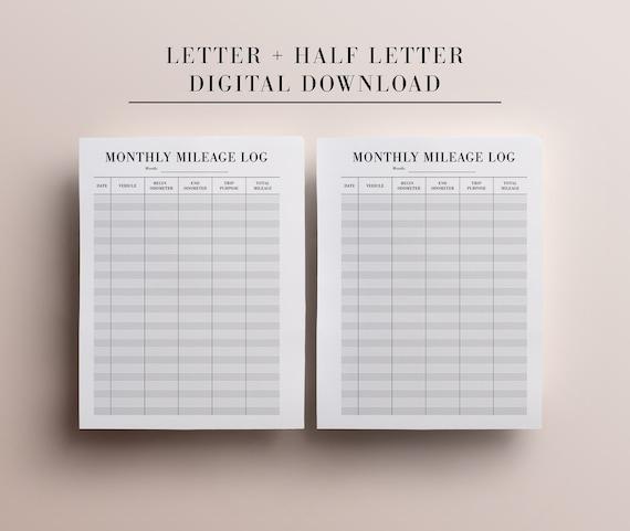 Printable Mileage Log Letter Size Half Letter Planner Etsy