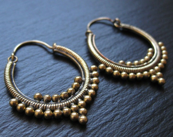Gypsie Tribal Brass Hoop Earrings . Boucles d'oreilles Laiton Tribales Ethniques