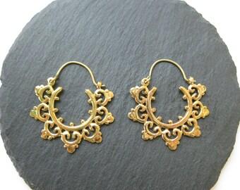 Mandala Small Hoops Brass Earrings . Tribal Ethnic Boho Chic Festival Earrings . Gypsie Jewelry . FREE SHIPPING CANADA