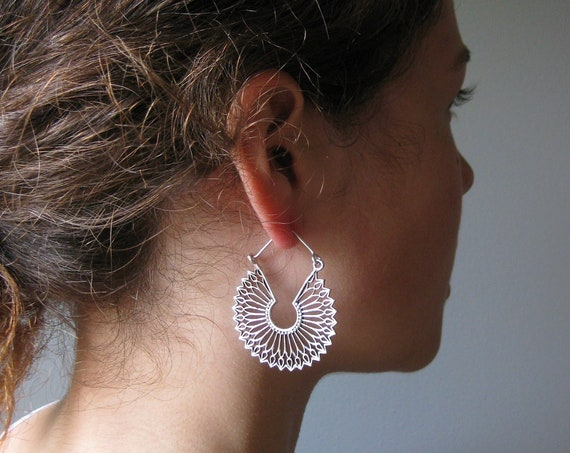Dainty Hoop Earrings . Statement Lightweight Hoops . Silver Plated . Mandala Earrings . Edgy Gypsy Chic Boho Jewelry . FREE SHIPPING CANADA