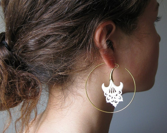 Bohemian Statement Earrings . Jumbo Hoops . Floral Brass Hoop Earrings . Natural Organic Jewelry . Marriage Jewelry . FREE SHIPPING CANADA