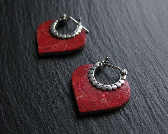 Red Coral Small Hoop Earrings . Sterling Silver 925 . Exotic Jewelry . FREE SHIPPING CANADA