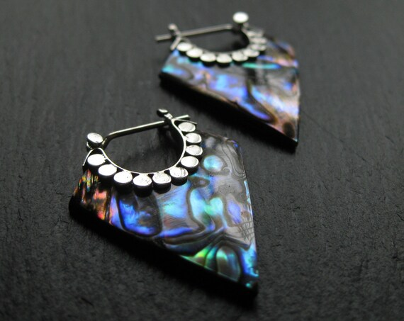 Abalone Hoops . Exotic Geometric Minimalist Statement Earrings . FREE SHIPPING in CANADA