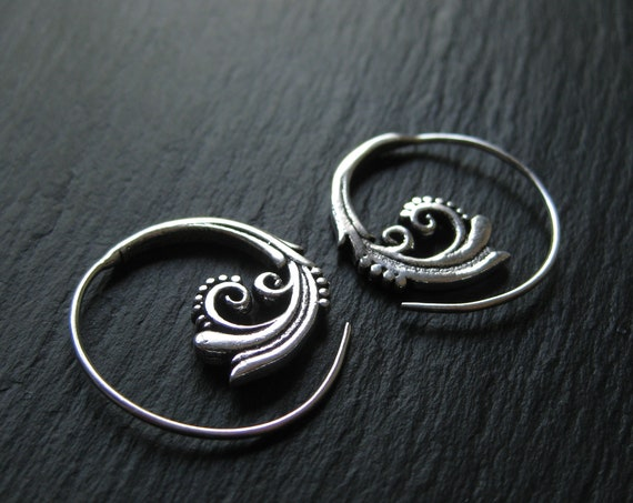 Floral Small Spiral Hoop Earrings . Silver Plated Brass . Boho Chic Jewelry . FREE SHIPPING in Canada