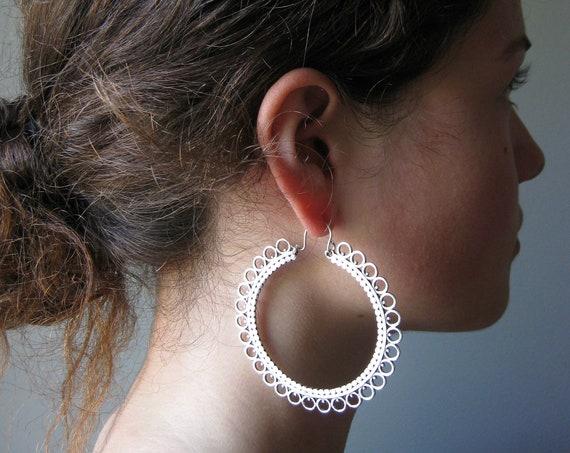 Statement Mandala Hoop Earrings . Silver Jumbo Hoops . FREE SHIPPING CANADA . Flat Rate Worldwide