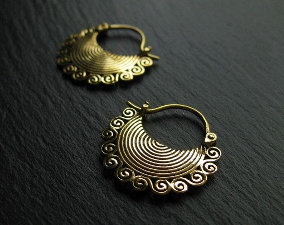 Chunky Brass Tribal Hoops . Ethnic Earrings . Gypsy Jewellery . FREE SHIPPING CANADA