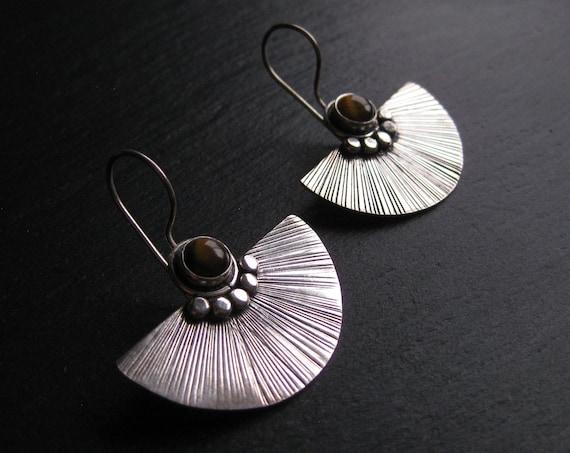Tiger Eye Earrings . Exotic Fan Earrings . SemiCircle Earrings. Statement Earrings . Silver Plated . FREE SHIPPING CANADA