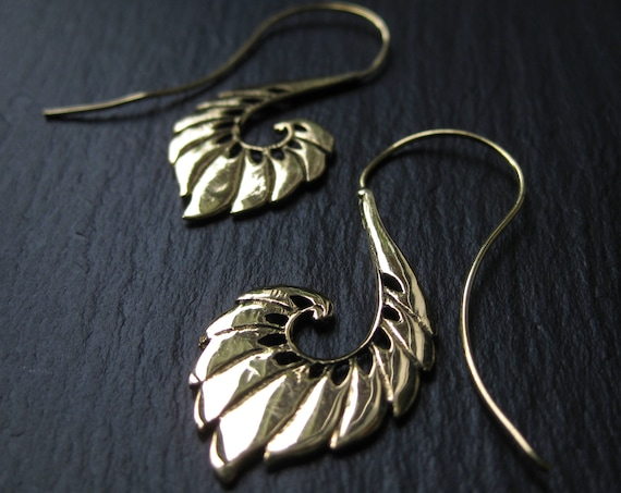 Threader Feather Wing Brass Earrings . Tribal Gold Earrings . Spiral Hoops . Gypsy Boho Chic Urban Hippie