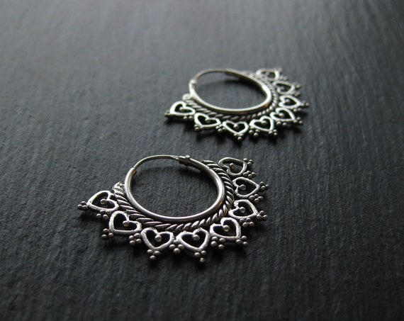 Dainty Sterling Silver Mandala Hoop Earrings . Snowflake Earrings . 925 Silver . FREE SHIPPING in CANADA