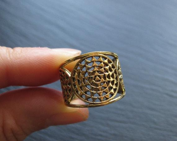 Unisex Mandala Ring Brass . Sacred Geometry Ring . Seed of Life . Men Ring . Adjustable Band Ring . Yoga Spiritual Jewelry