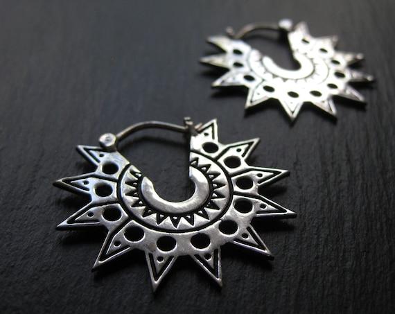 Edgy Sun Hoop Earrings . Aztek Statement Earrings . Silver Plated . Ethnic Exotic Jewelry . Spiky Geometric Earrings . FREE SHIPPING Canada