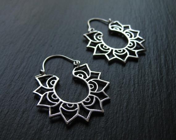 Mandala Lotus Hoop Earrings . Flower Hoops . Silver Plated . FREE SHIPPING CANADA