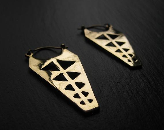 Geometric Statement Brass Hoop Earrings . Thick Golden Hoops . Triangle Earrings . FREE SHIPPING CANADA
