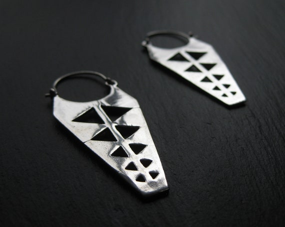 Elongated Hoop Earrings . Triangle Hoops . Silver Plated . Cut Out Earrings . FREE SHIPPING CANADA