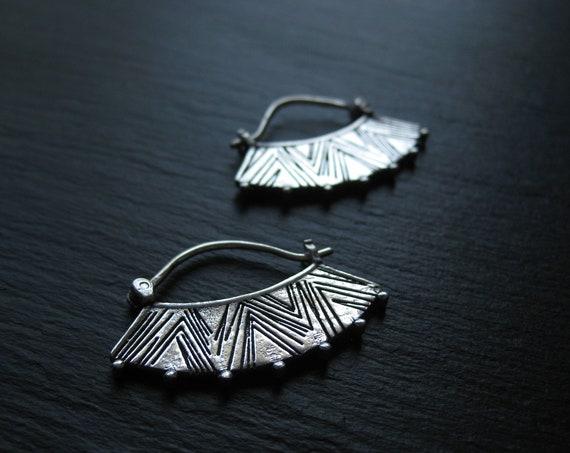 Ethnic Silver Hoop Earrings . Fan Earrings . Handstamped Jewellery . Gypsie Jewelry . Chic Tribal Jewelry . FREE SHIPPING in CANADA