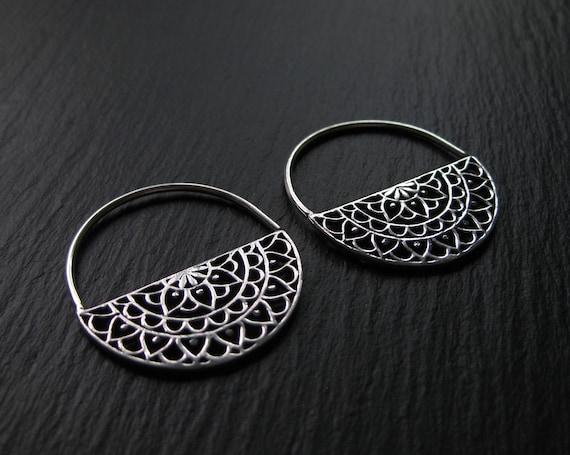 Mandala Hoops Earrings . Semi Circle Earrings . Silver Plated . Gauge Hoops . Coin Earrings Gyspy . Half Circle Disc . FREE SHIPPING CANADA
