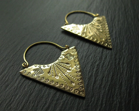 Tribal Brass Hoops Exotic Earrings  . Handstamped Statement Hoops . Triangle Earrings . Ethnic Geometric Jewelry . FREE SHIPPING in CANADA