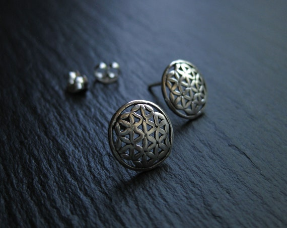 Flower of Life Stud Earrings in Sterling Silver . Mandala Earrings . FREE SHIPPING CANADA