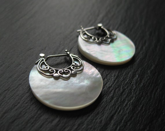 Dainty Mother of Pearl Disc Hoops w/ Sterling Silver . FREE SHIPPING in Canada