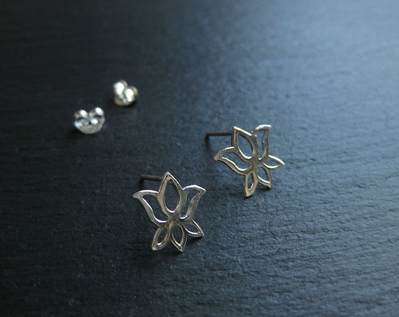 Small Lotus Flower Stud Earrings . Sterling Silver 925 . Mandala Earrings . Yoga Earrings . Bohemian Jewelry FREE SHIPPING CANADA