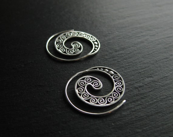 Dainty Mandala Spiral Hoop Earrings . Silver Plated . Ethnic Chic Bohemian Jewelry . FREE SHIPPING in Canada