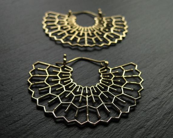 Statement Fan Shaped Hoop Earrings in Brass . Sacred Geometry . FREE SHIPPING CANADA