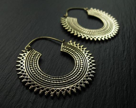 Statement Brass Hoop Earrings . Chunky Hoops . Disc Hoop Earrings . Bohemian Festival Gypsy Earrings . Big Earrings . FREE SHIPPING Canada