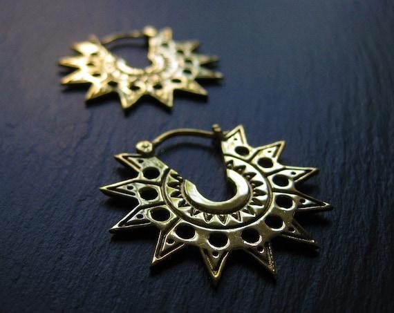 Brass Sun Hoop Earrings . Aztek Gold Statement Earrings . Spike Hoops . Ethnic Exotic Jewelry . Edgy Geometric Earrings