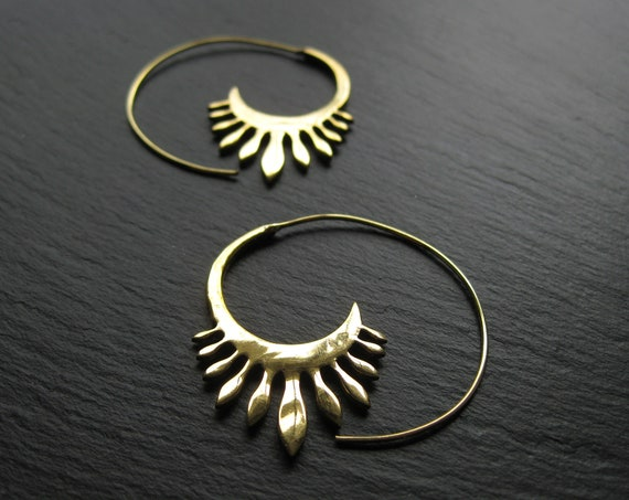 Dainty Threader Brass Spiral Hoops Earrings . Gold Boho Chic Jewelry . FREE SHIPPING Canada