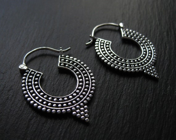 Tribal Hoop Earrings . Dots Hoops . Thick Chunky Hoops . Ethnic Gypsy Hoops . Silver Plated Earrings . FREE SHIPPING in CANADA