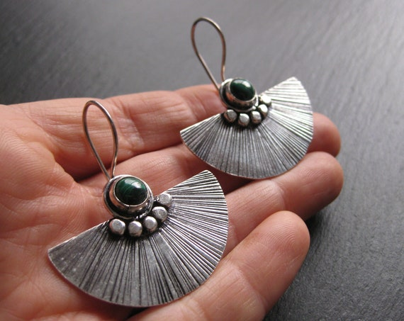 Malachite Stone Fan Shaped Earrings . Green Stone . Exotic Jewelry . Silver Plated .FREE SHIPPING CANADA