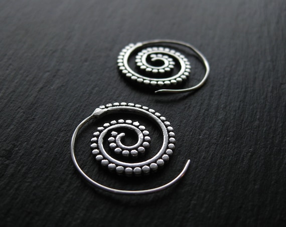 Small Silver Plated Spiral Hoop Earrings . FREE SHIPPING in CANADA