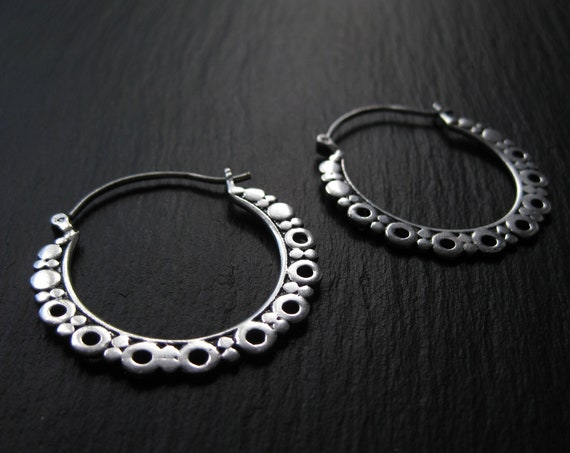 Circle Hoop Earrings . Dots Hoops . Silver Plated . Statement Earrings . Hippie Chic Hoops . Gypsy Soul Jewelry .FREE SHIPPING CANADA