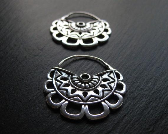 Exotic Brass Hoop Earrings . Mayan Statement Earrings . Ethnic Jewelry . Gauge Hoops . Flower Earrings . FREE SHIPPING CANADA
