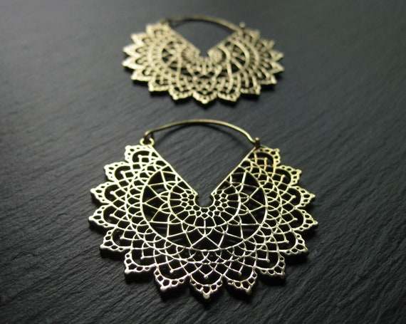 MANDALA Brass Hoop Earrings . Cut Out Statement Hoops . Dainty Elegant Bohemian Festival Earrings . Snowflake Earrings .FREE SHIPPING Canada
