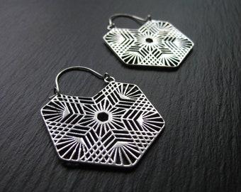 Silver Mandala Hoop Earrings FREE SHIPPING CANADA Half Circle Earrings Geometric Fan Earrings Statement Hoops