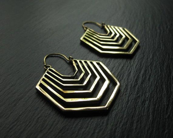 Modern Brass Hoop Earrings . Statement Hoops . Geometric Jewelry . Striped Earrings . Fan Earrings . Disc Hoops . FREE SHIPPING in Canada