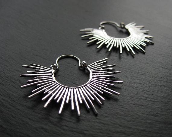 Sunshine Hoops . Silver Sun Earrings . Sunburst . Celestial Jewellery . FREE SHIPPING in CANADA