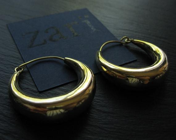 Big Chunky Tube Hoops . BRASS Unisex Earrings . Gold Minimalist Statement Earrings . Simple Hoops . FREE SHIPPING in Canada