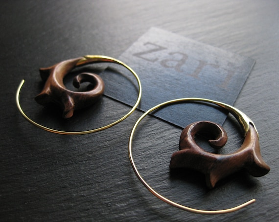 Wood Brass Tribal Chic Earrings . Spiral Hoops Threader . Organic Natural Sono Wood Jewelry . FREE SHIPPING CANADA . Zarishop