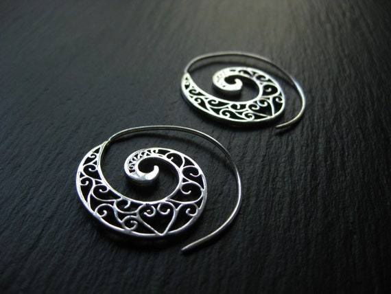 Filigree Spiral Hoop Earrings . Silver Plated Brass . FREE SHIPPING Canada