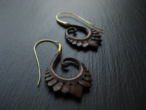 Wood Earrings Brass Threader . Tribal Ethnic Chic . Handcarved Earrings .  FREE SHIPPING in CANADA