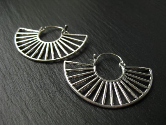 Fan Earrings Hoops . Silver Flamenco Gypsie Earrings. Urban Ethnic Jewelry . FREE SHIPPING in Canada