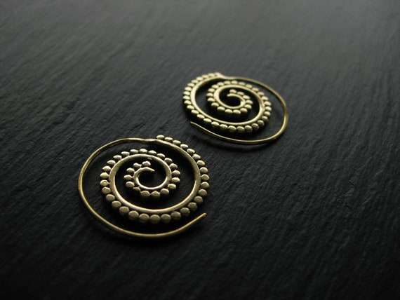 Small Brass Spiral Hoop Earrings . FREE SHIPPING in CANADA