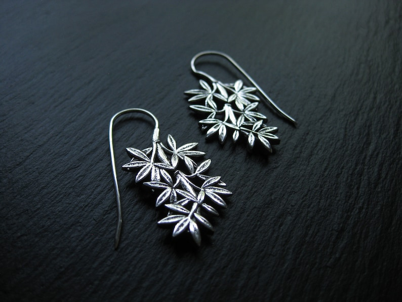 Botanical Threader Hoops Plant Earrings Bamboo Leaves Branch Natural Jewelry Leaf Earrings FREE SHIPPING CANADA Silver plated