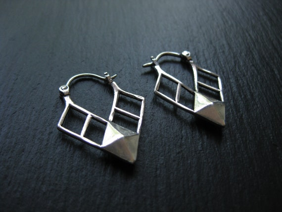 Arrowhead Triangle Hoops Earrings . Modern Urban Tribal . FREE SHIPPING CANADA