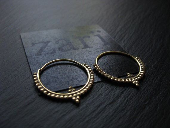Infinity Brass Hoop Earrings . Tribal Ethnic Gold Hoops . FREE SHIPPING CANADA